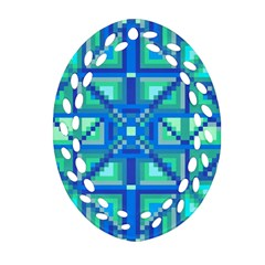 Grid Geometric Pattern Colorful Oval Filigree Ornament (Two Sides)