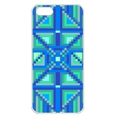 Grid Geometric Pattern Colorful Apple iPhone 5 Seamless Case (White)