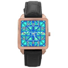 Grid Geometric Pattern Colorful Rose Gold Leather Watch