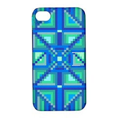Grid Geometric Pattern Colorful Apple Iphone 4/4s Hardshell Case With Stand