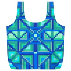 Grid Geometric Pattern Colorful Full Print Recycle Bags (l)