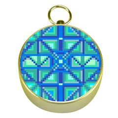 Grid Geometric Pattern Colorful Gold Compasses
