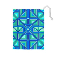 Grid Geometric Pattern Colorful Drawstring Pouches (large)