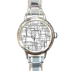 Structure Pattern Network Round Italian Charm Watch