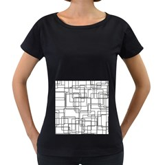 Structure Pattern Network Women s Loose Fit T Shirt (black)