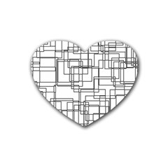 Structure Pattern Network Rubber Coaster (heart)