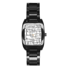 Structure Pattern Network Stainless Steel Barrel Watch