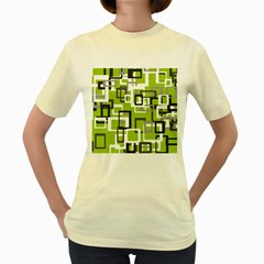 Pattern Abstract Form Four Corner Women s Yellow T-Shirt