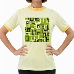 Pattern Abstract Form Four Corner Women s Fitted Ringer T-Shirts