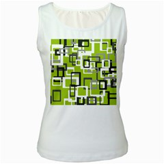 Pattern Abstract Form Four Corner Women s White Tank Top