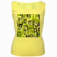 Pattern Abstract Form Four Corner Women s Yellow Tank Top