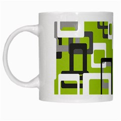 Pattern Abstract Form Four Corner White Mugs