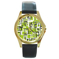 Pattern Abstract Form Four Corner Round Gold Metal Watch
