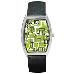 Pattern Abstract Form Four Corner Barrel Style Metal Watch
