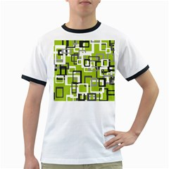 Pattern Abstract Form Four Corner Ringer T-Shirts