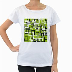 Pattern Abstract Form Four Corner Women s Loose Fit T Shirt (white)