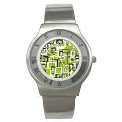 Pattern Abstract Form Four Corner Stainless Steel Watch