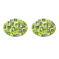 Pattern Abstract Form Four Corner Cufflinks (Oval)