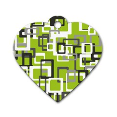 Pattern Abstract Form Four Corner Dog Tag Heart (one Side)