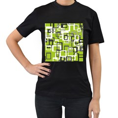 Pattern Abstract Form Four Corner Women s T-Shirt (Black)