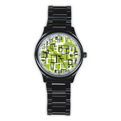 Pattern Abstract Form Four Corner Stainless Steel Round Watch