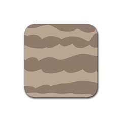 Pattern Wave Beige Brown Rubber Coaster (Square)