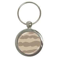 Pattern Wave Beige Brown Key Chains (round)