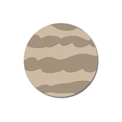 Pattern Wave Beige Brown Magnet 3  (round)