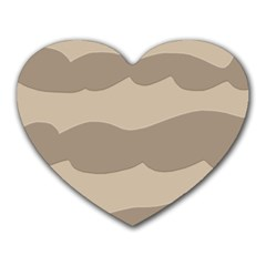Pattern Wave Beige Brown Heart Mousepads