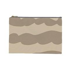 Pattern Wave Beige Brown Cosmetic Bag (Large)