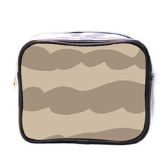 Pattern Wave Beige Brown Mini Toiletries Bags