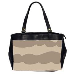 Pattern Wave Beige Brown Office Handbags (2 Sides)