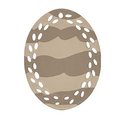 Pattern Wave Beige Brown Oval Filigree Ornament (Two Sides)