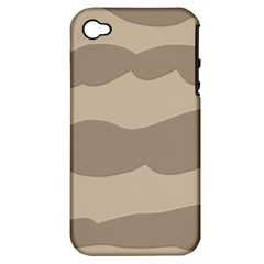 Pattern Wave Beige Brown Apple Iphone 4/4s Hardshell Case (pc+silicone)