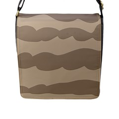 Pattern Wave Beige Brown Flap Messenger Bag (l)