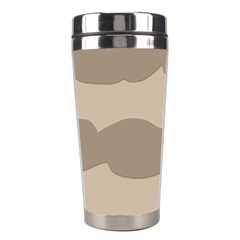 Pattern Wave Beige Brown Stainless Steel Travel Tumblers