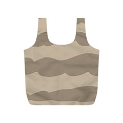 Pattern Wave Beige Brown Full Print Recycle Bags (s)