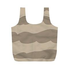 Pattern Wave Beige Brown Full Print Recycle Bags (M)