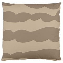 Pattern Wave Beige Brown Large Flano Cushion Case (one Side)