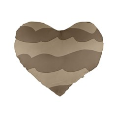 Pattern Wave Beige Brown Standard 16  Premium Flano Heart Shape Cushions