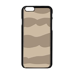 Pattern Wave Beige Brown Apple Iphone 6/6s Black Enamel Case