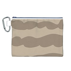 Pattern Wave Beige Brown Canvas Cosmetic Bag (l)