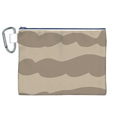 Pattern Wave Beige Brown Canvas Cosmetic Bag (xl)