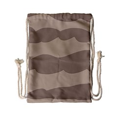 Pattern Wave Beige Brown Drawstring Bag (small)