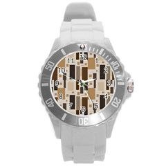 Pattern Wallpaper Patterns Abstract Round Plastic Sport Watch (l)
