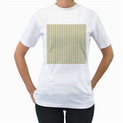 Pattern Background Green Lines Women s T Shirt (white) (two Sided)