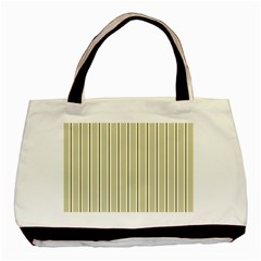 Pattern Background Green Lines Basic Tote Bag