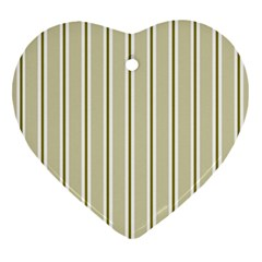Pattern Background Green Lines Heart Ornament (Two Sides)