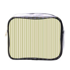 Pattern Background Green Lines Mini Toiletries Bags