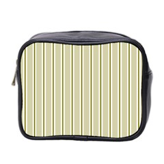 Pattern Background Green Lines Mini Toiletries Bag 2 Side